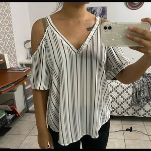 Sienna Sky White & Black Striped Open Shoulder Top
